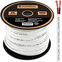InstallGear 14 Gauge AWG 100ft In-Wall Speaker Wire - 99.9% Oxygen-Free Copper - UL Listed/CL2 Rated