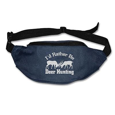 Unisex Pockets I'd Rather Be Deer Hunting Fanny Pack Waist / Bum Bag Adjustable Belt Bags Running Cycling Fishing Sport Waist Bags Black