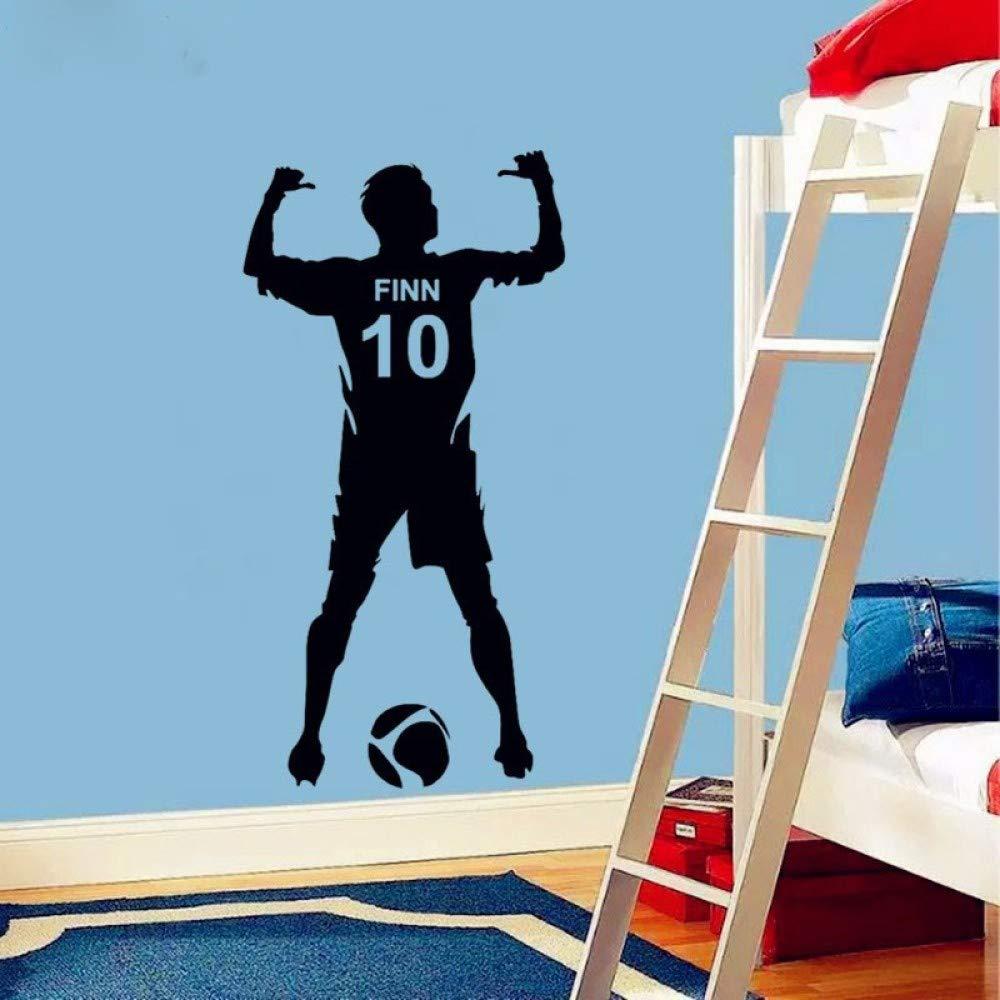 Pegatinas de pared artísticas vinilos decorativos vinilos artísticos de vinilo muchachos personalizados nombre inglés bola número de jugador de fútbol patrón tallado pegatinas 1 negro 45x90cm: Amazon.es: Hogar
