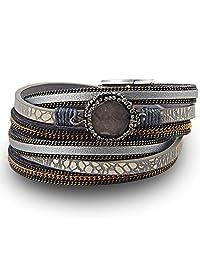SEIRAA Boho Leather Bracelet Wrap Bracelet Multi Strand Leather With Magnet Clasp Bracelet For Women