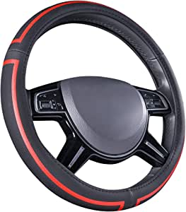 AmazonBasics Leatherette Steering Wheel Cover, 15″, Black and Red