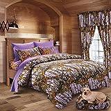 20 Lakes Hunter Camo Comforter, Sheet, Pillowcase Set Lavender & Purple (King, Lavender/Purple)