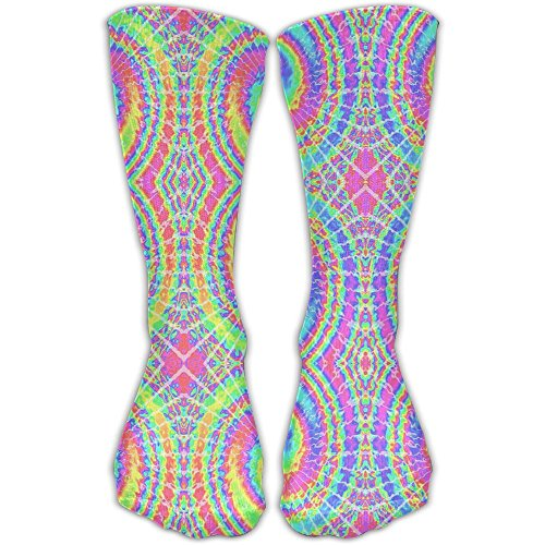 Malsjk8 Sock Psychedelic Tie Dye Unisex Sport Over-The-Calf Long Tube Stockings One Size (Tie Dye Bleach)