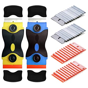 Gebildet 2 piezas Rascador de doble cabeza para vidrio y Vitrocerámicas (Amarillo + Azul), Placas de Inducción, con 20 piezas Acero Carbono Cuchillas ...