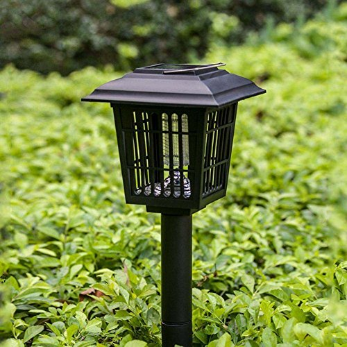 Solar Mosquito Zapper Outdoor Backyard Flying Insects Killer Hang or Stake in the Ground Cordless Garden Lamp Patio Fly Portable LED Light Machine Best Stinger for Mosquitoes Moths Flies Black