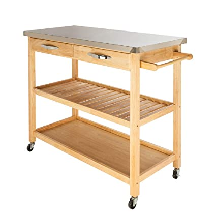 Amazon Com Hellowland Fch Moveable Kitchen Cart With Stainless Steel Table Top Two Drawers Two Shelves Burlywood Kitchen Islands Carts
