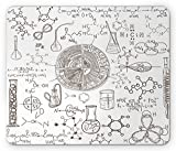 Lunarable Science Mouse Pad, Science Theme Hand Drawn Style Chemistry Laboratory School Classroom Illustration, Standard Size Rectangle Non-Slip Rubber Mousepad, Umber White