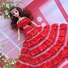 "Lanlan Gorgeous Multi-layer Sequined Bridal Wedding Dress Party Dress Princess Gown for 12"" Barbie Doll Red"