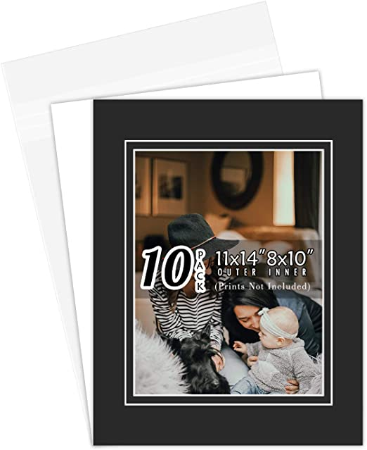 Pack of 20 11x14 Double Picture Mats with White Core Bevel Cut for 8x10 Pictures