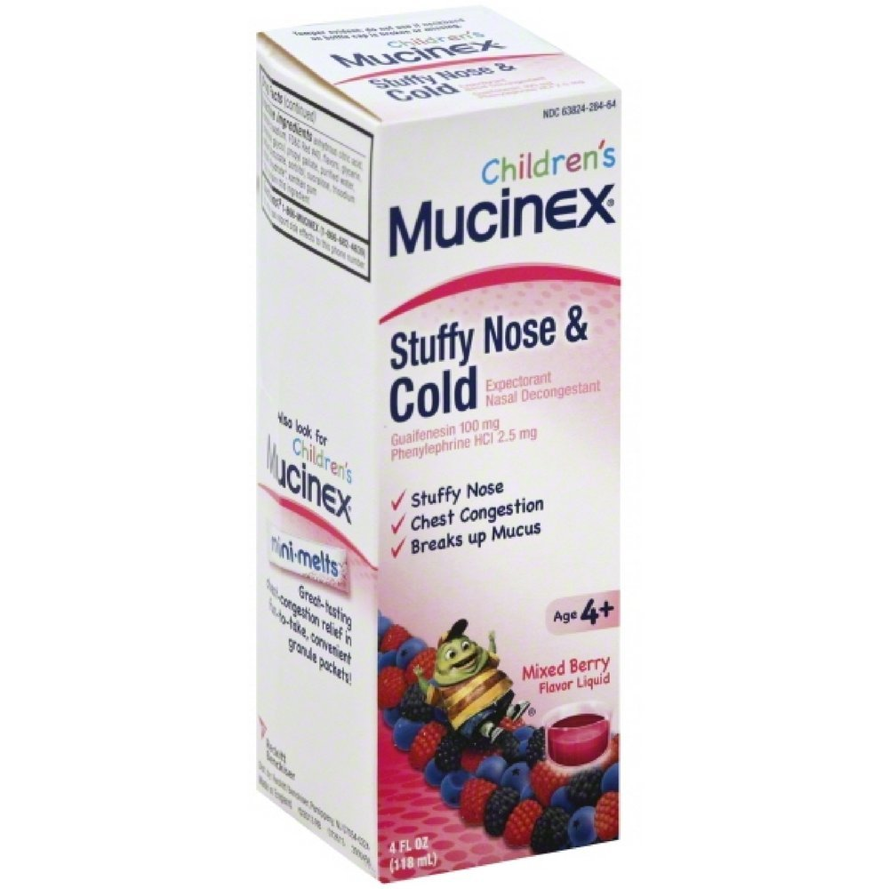 Mucinex Children's Liquid - Stuffy Nose & Cold Mixed Berry 4 oz. (Pack of 6) by Mucinex