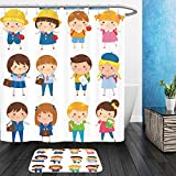 Vanfan Bathroom 2Suits 1 Shower Curtains & 1 Floor Mats school kids of different ages with and without school uniforms 305031635 From Bath room