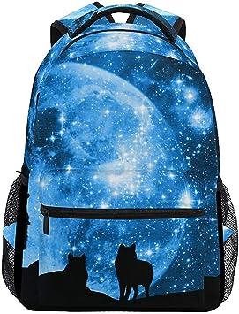 Mochila Bolsa,Wolf Forest Tree Night Moon Nebula Universe ...
