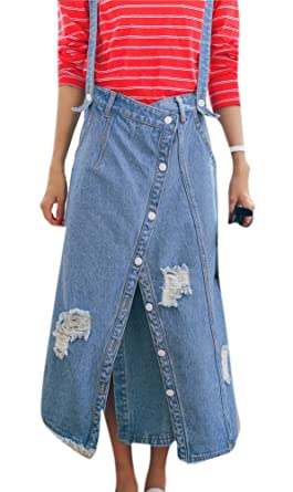 e727fd7bcf5 Enlishop Women s Ripped Distressed Split Blue Suspender Denim Maxi Skirt  Dress
