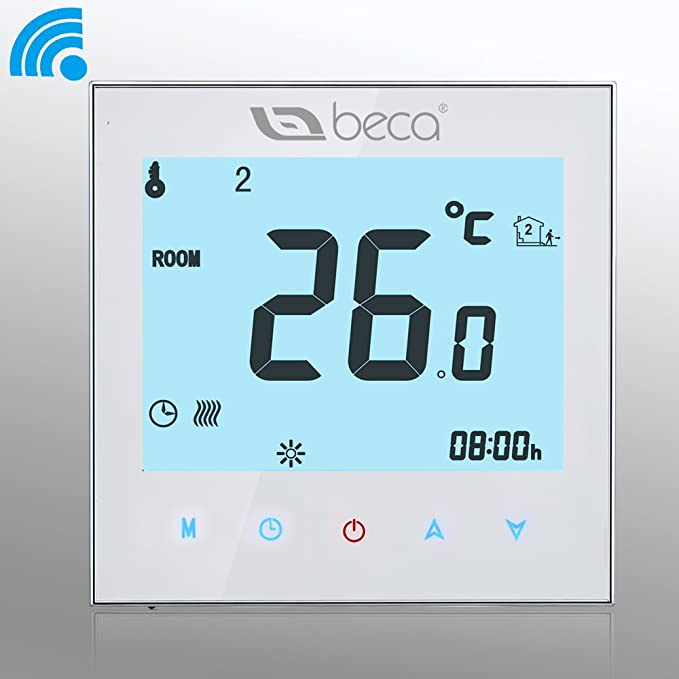 BECA 1000 Series 3/16A LCD Touch Screen Water/Electric/Boiler Heating Intelligent Programming Control Thermostat with WIFI Connection (Water Heating, ...