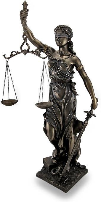 Bronzo giustizia personaggio circa 40cm Justice Lady Bronzo personaggio justizia dea diritto NUOVO