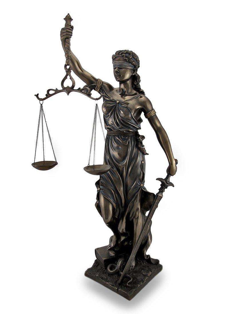 Bronzed Goddess of Justice `Themis` Sculptured Statue