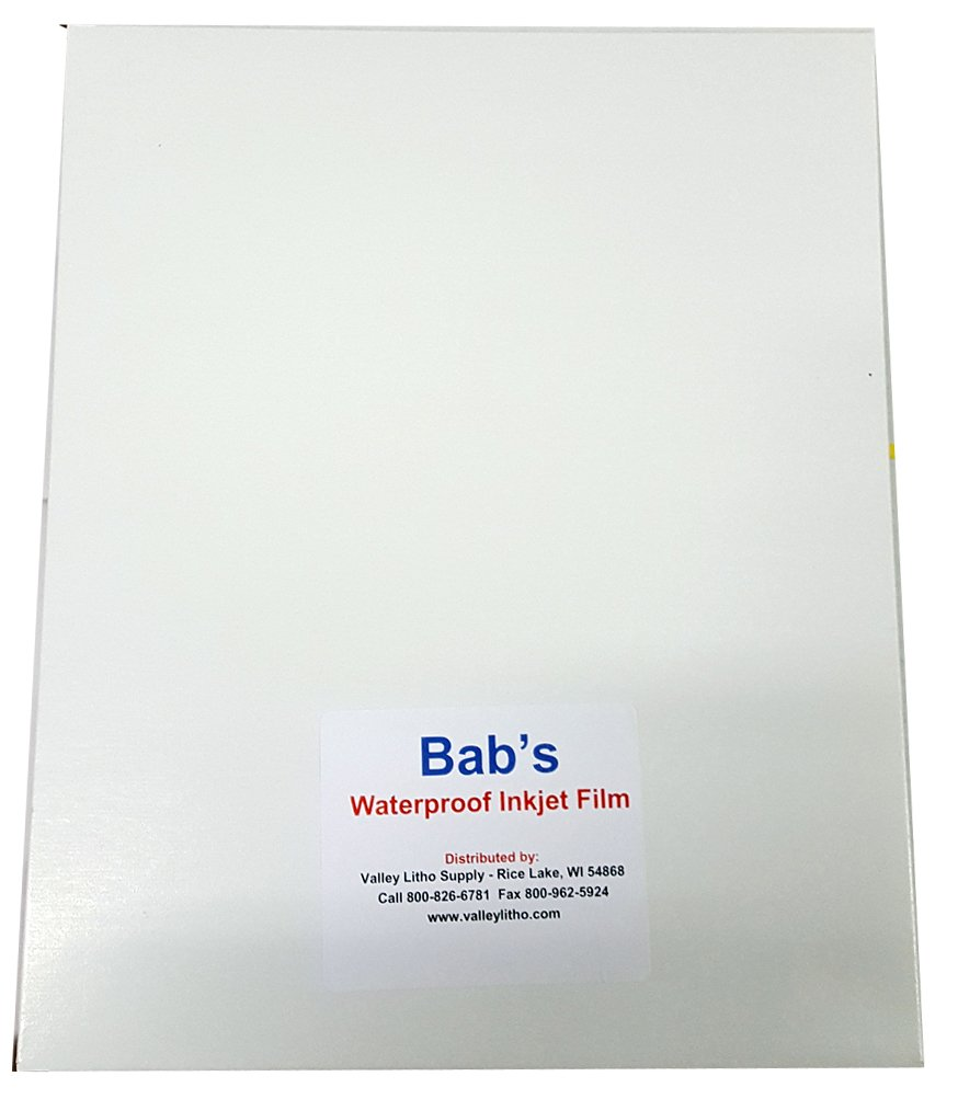 BAB'S Waterproof Inkjet Positive Film 13'' x 19'' (50 Sheets)