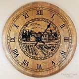Wine Barrel Head Old Winery Engraved Large Wall Clock - Wine Barrel Handcrafted - Central Coast Creations - Wine Barrel Furniture