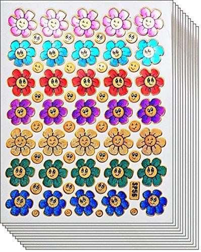 Sticker 10 (Jazzstick 350 Glitter Smiling Flower Decorative Sticker 10 sheets (VST08A03))