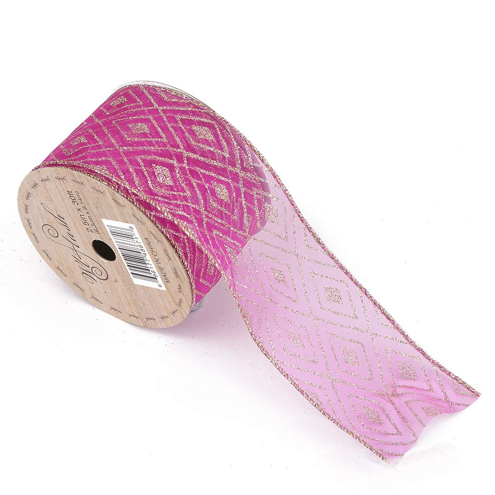 Morex Ribbon Burlap Wired Ribbon 1-1//2-Inch by 10-Yard Spool Rose Red