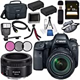 Canon EOS 6D Mark II DSLR Camera with 24-105mm f/3.5-5.6 Lens 1897C021 + Canon EF 50mm f/1.8 STM Lens 0570C002 + LPE-6 Lithium Ion Battery + 128GB SDXC Card + Canon 100ES bag + Tripod + Flash Bundle