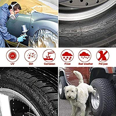 Tire Covers Set of 4, Fits 27-29 Inch Tire Diameter L,Waterproof Aluminum Film Tire Sun Protectors for Rv Travel Trailer Camper Vinyl Wheel (Aluminum Film Tire Sun Protectors Tire Covers): Automotive