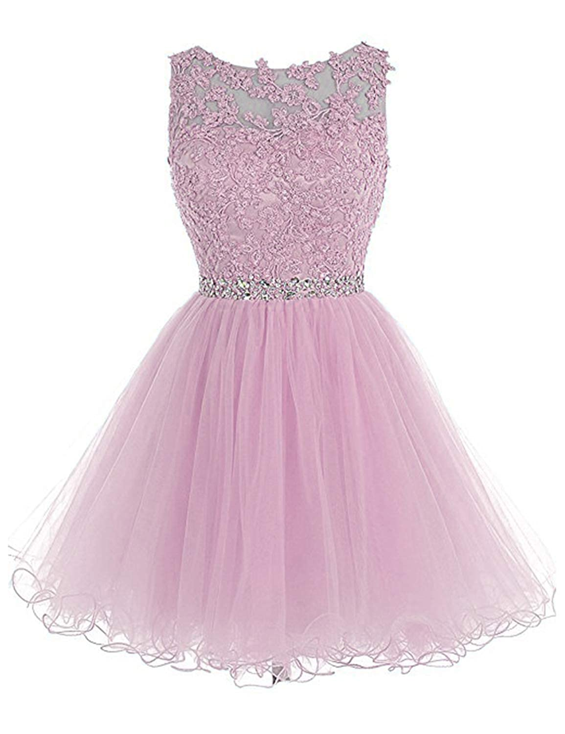 0 Pink 1 Vimans Women's Short Tulle Homecoming Dresses 2018 Knee Length Lace Prom Gowns Dress448
