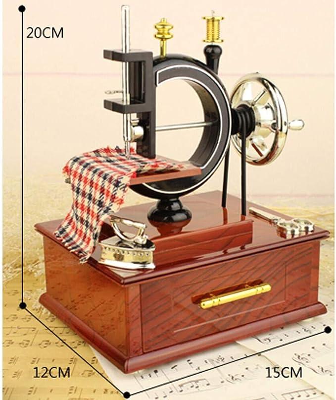 Duquanxinquan - Mini máquina de Coser para niños, Mesa de decoración de Navidad, Mecanismo de Antigua esculpida, Caja Musical, Regalo para niños, Amigos: Amazon.es: Electrónica