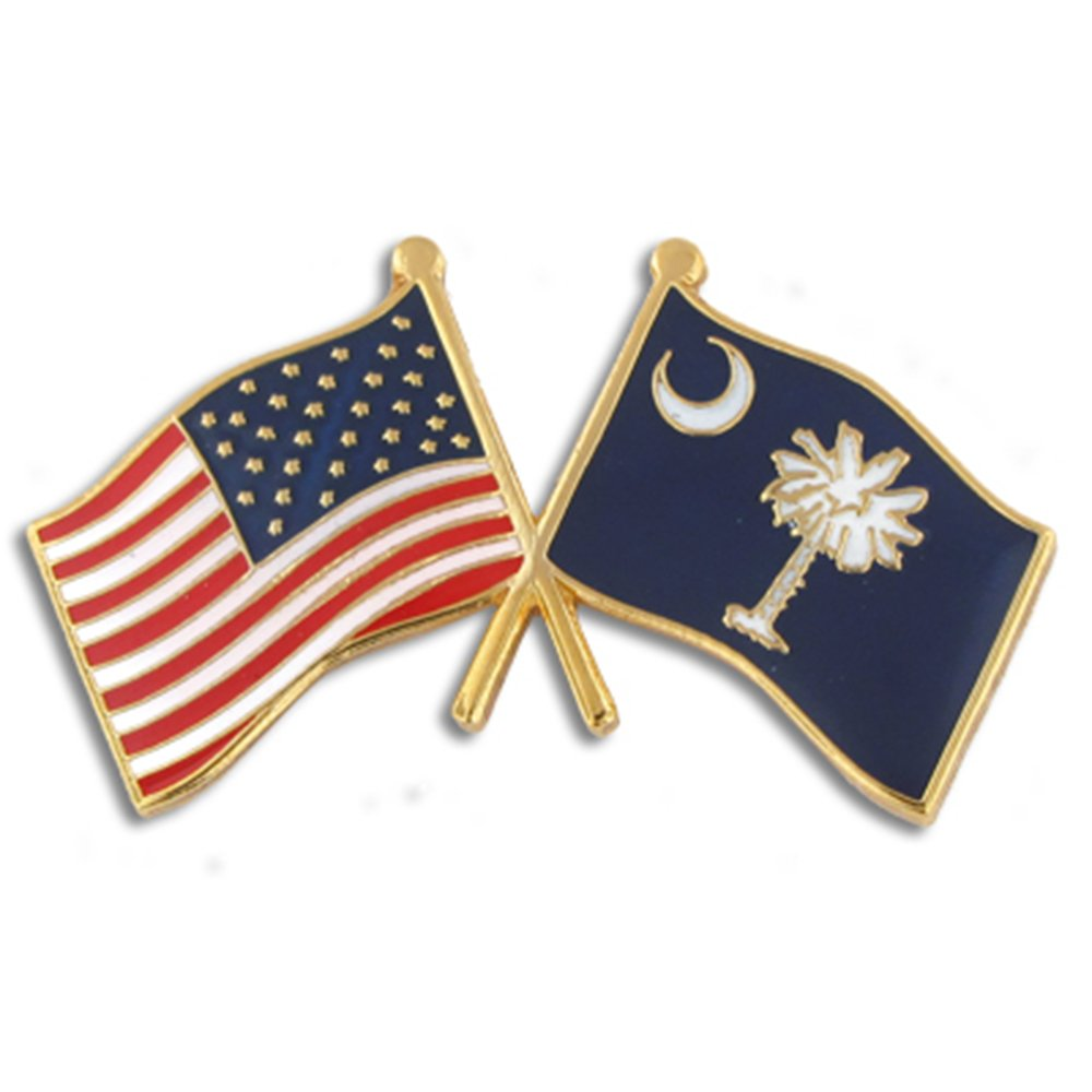 PinMart's South Carolina and USA Crossed Friendship Flag Enamel Lapel Pin by PinMart