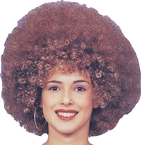 Ladies Fancy 1970s Foxy Cleopatra Dress Party Beyonce Big Afro Hair Wig Brown
