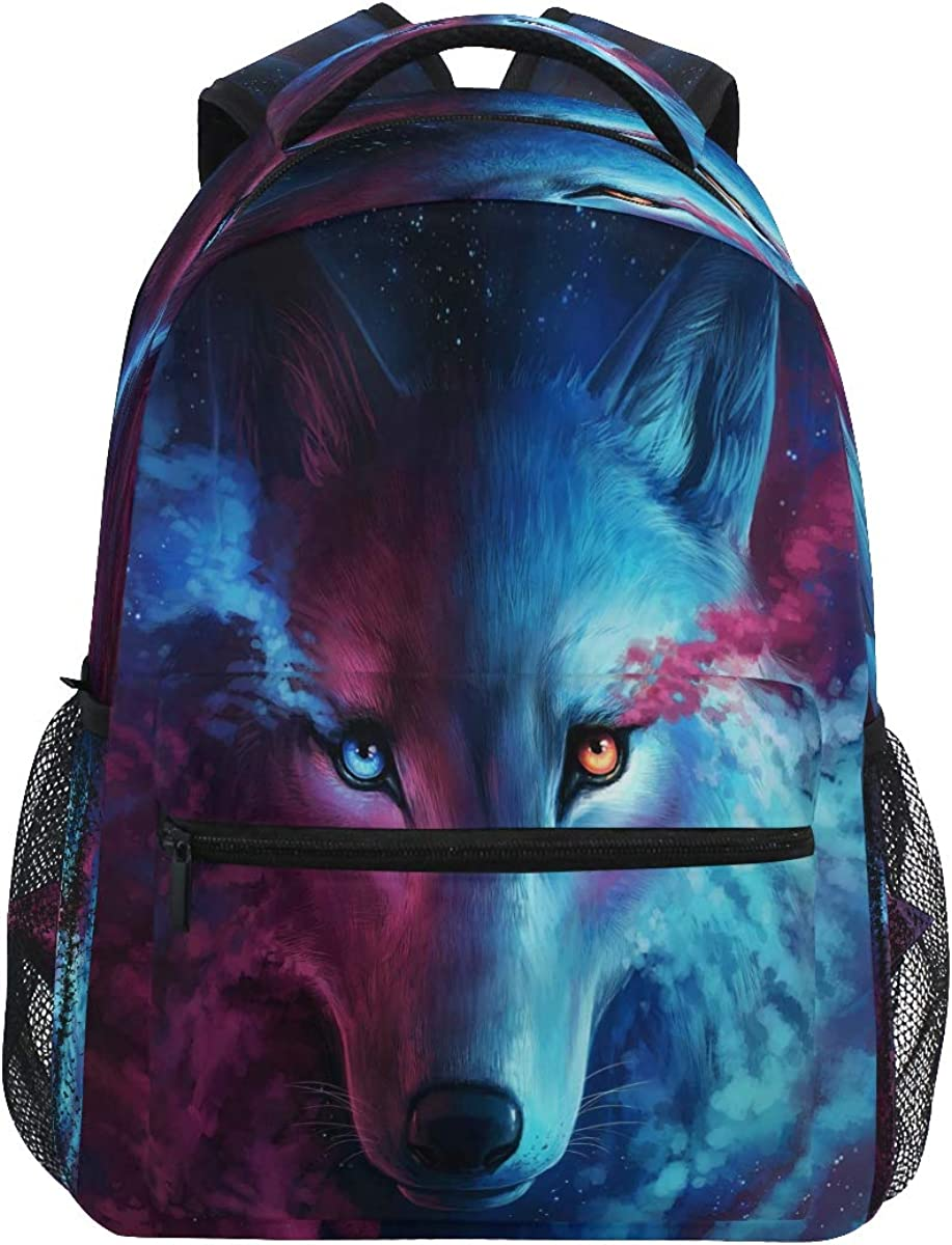 CCDMJ Backpacks Animal Wolf Colorful School Bag Student Bookbag Adjustable Shoulder Bags Laptop Rucksack Travel Hiking Camping Daypack for Teens Girls Boys Women Men