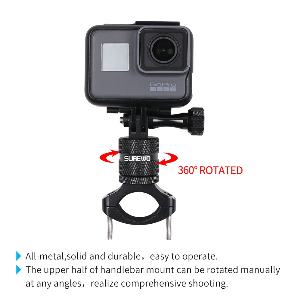 SUREWO Bike Handlebar Mount,360 Degrees Rotation Aluminum Bicycle Seatpost Mount Compatible with GoPro Hero 8//7// 2018 6 5 Black,4 Session,4 Silver,3+,DJI Osmo Action,AKASO,YI,Campark and More