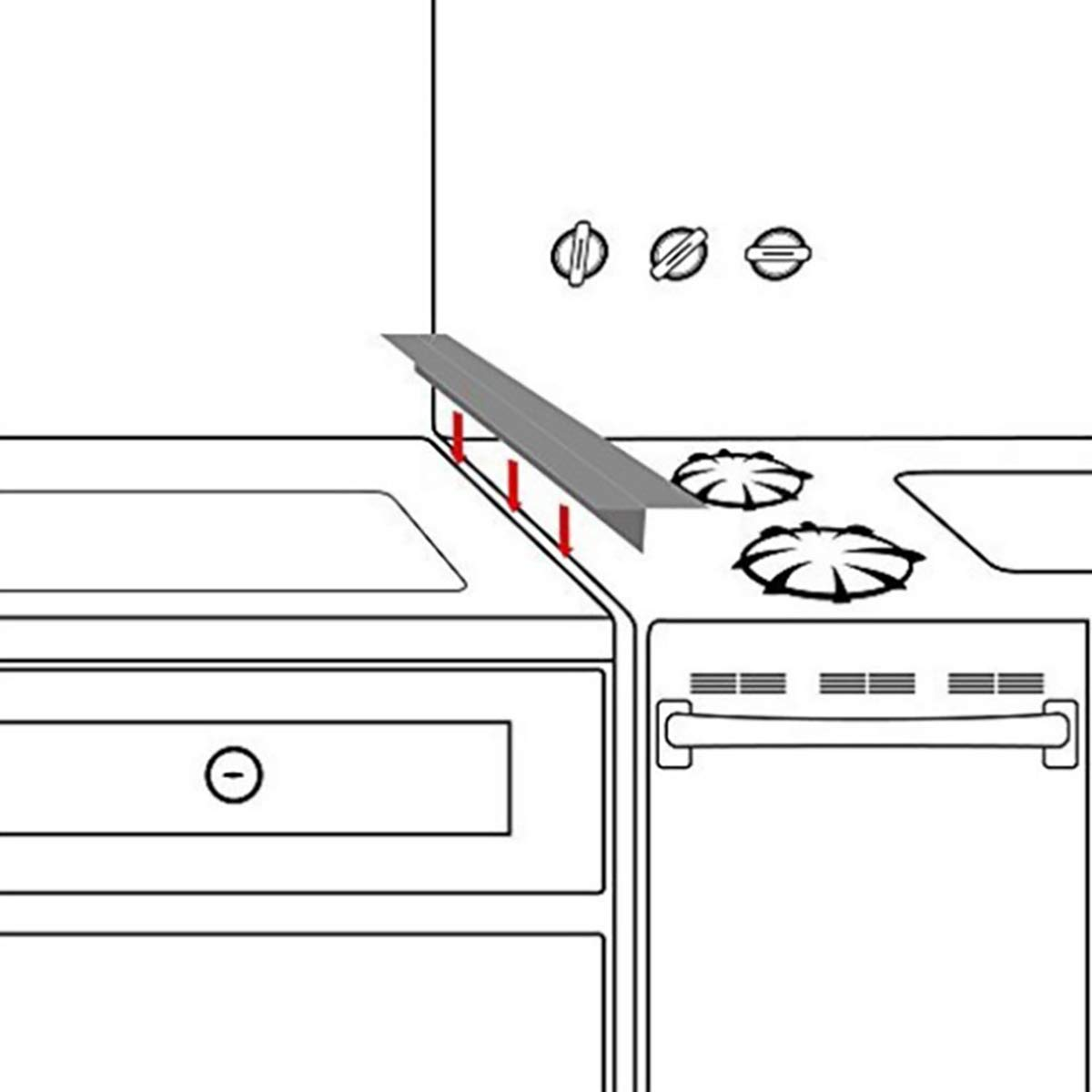 Kitchen Appliances 2 Pack 21 Long /& 2.2 Wide Gap Filler for Oven Protector Countertop Heat-Resistant and Easy Clean Silicone Kitchen Stove Counter Gap Cover