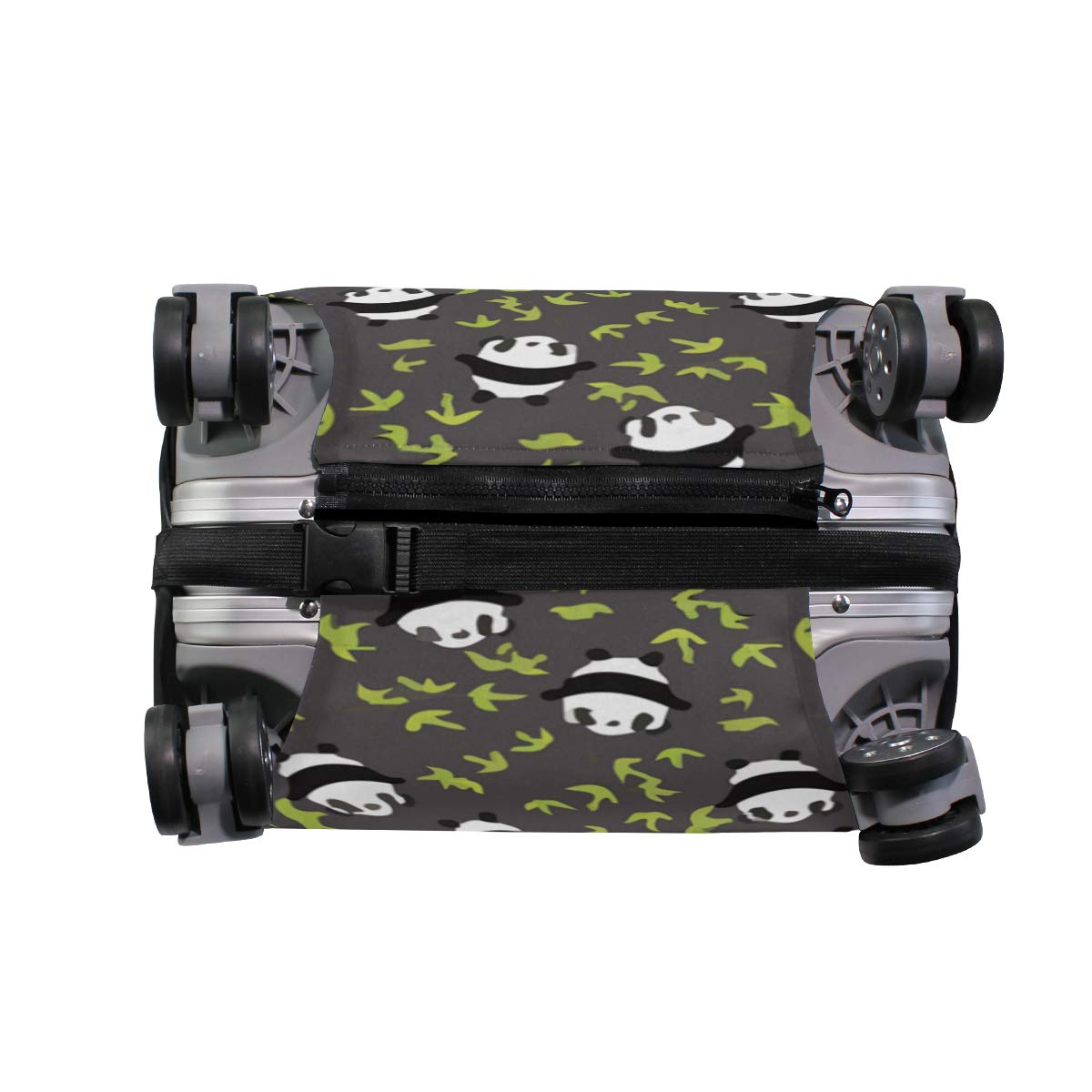 Panda Bear With Bamboo Leafs Green Travel Suitcase Protector Zipper Suitcase Cover Elastic