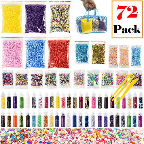 TEPSMIGO Slime Supplies Kit, 72 Pack Slime Stuff Charms Include Foam Balls, Bigger Sized Glitters, Emoji/Saint / Dragonfly/Wings / Snowflake/Rabbit Fruit Slices, Shell, Slime Accessories for DIY