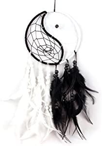 ELIUNG Taiji Dream Catcher, Handmade Ying Yang Dream Catcher with Beads Feathers Traditional Circular Dream Catcher for Girls Kids Bedroom Wall Hanging Decor