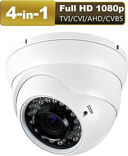 1080P 4-in-1 CCTV HD Security Dome Camera, TVI AHD CVI CVBS 2.8-12mm Lens Varifocal Wide Viewing Angle Analog Security Camera, Weatherproof Indoor Outdoor Camera Day Night Vision Waterproof