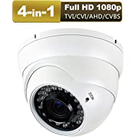 1080P Dome Security Camera HD 4-In-1 CCTV Camera 2.8mm-12mm Varifocal Lens 100ft IR Day/Night Monitoring IP66…