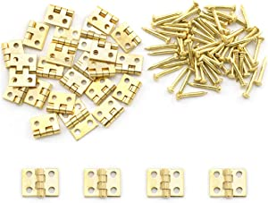 SDTC Tech 24-Pack Mini Brass Hinges 10x8mm 180 Degree Rotation Miniature Furniture Hardware with Mounting Nails for Jewelry Box Dollhouse Cabinet Door Closet DIY Accessories - Golden
