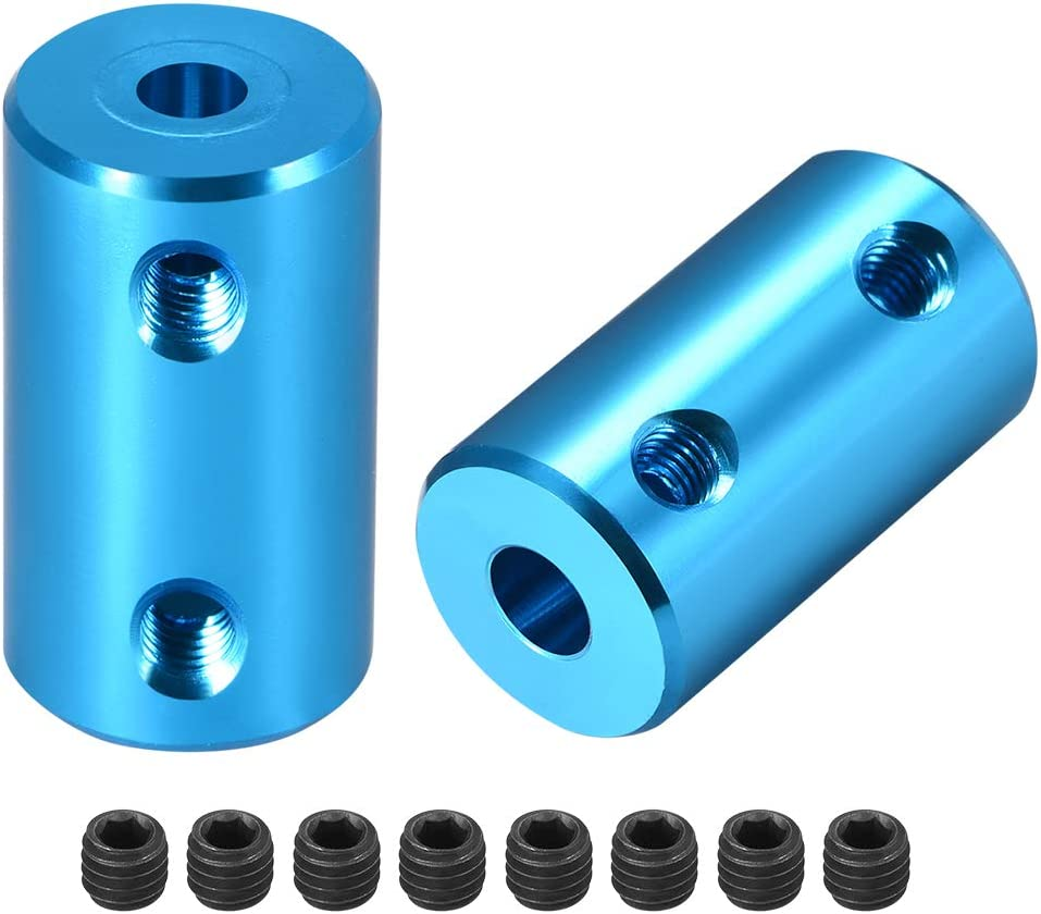 uxcell Shaft Coupling 5mm to 5mm Bore L25xD14 Robot Motor Wheel Rigid Coupler Connector Blue