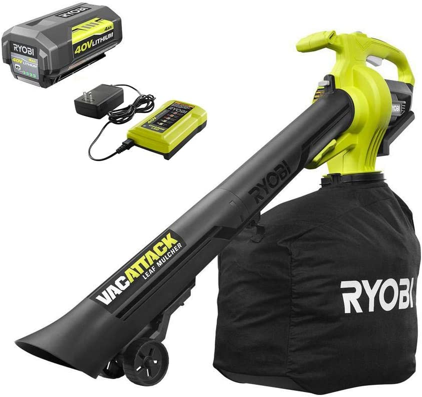 RYOBI RY40450 40-Volt Lithium-Ion Cordless Leaf Vacuum/Mulcher with 4.0 Ah Battery and Charger Included