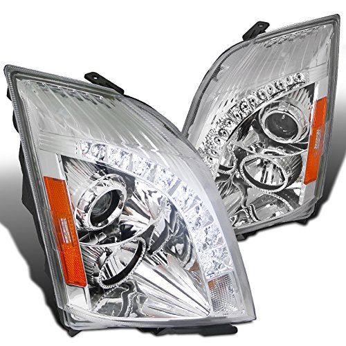 Cadillac Cts Oe Replacement (Spec-D Tuning 2LHP-CTS08-RS Cadillac CTS Euro Chrome Clear Projector Headlights+SMD LED DRL Strip)
