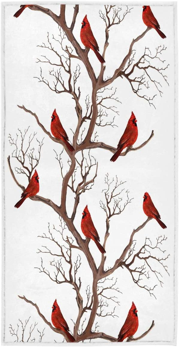 Northen Red Cardinals Branches Hand Towels 16x30 in Christmas Winter Bathroom Towel Ultra Soft Highly Absorbent Small Bath Towel Xmas Bathroom Decor Gifts