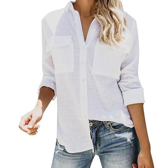 Tops de Lino de algodón Mujeres Camisa de Manga Larga sólida y Casual Botón de la