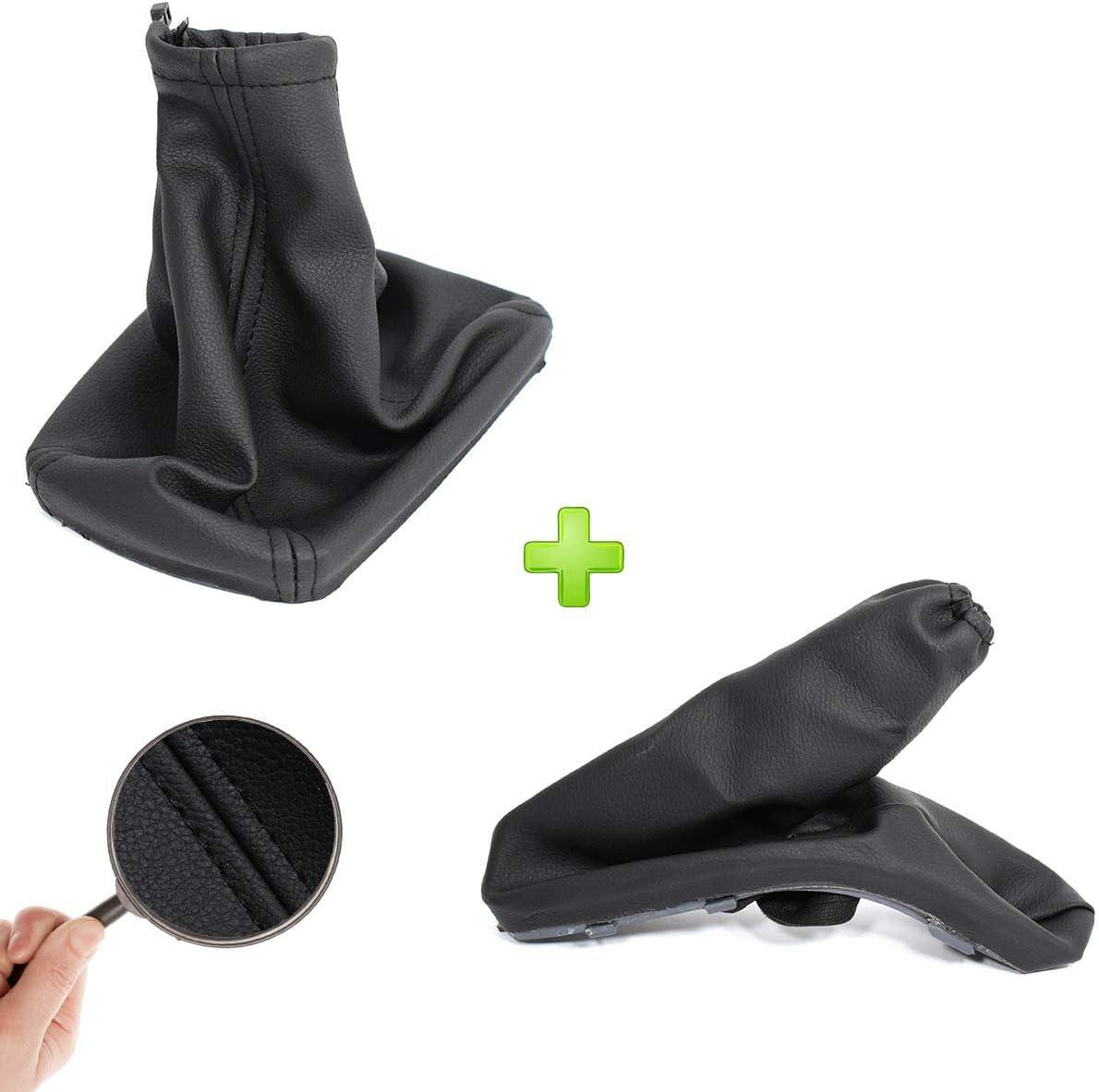 Gear Stick and Handbrake Boot Black Eko Leather Cuff Gear Lever Cuff
