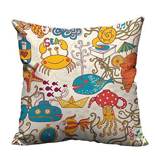 (YouXianHome Decorative Throw Pillow Case Cartoon Set with sea Live,Vector Set Copy That Square to The Side Ideal Decoration(Double-Sided Printing) 35x35)
