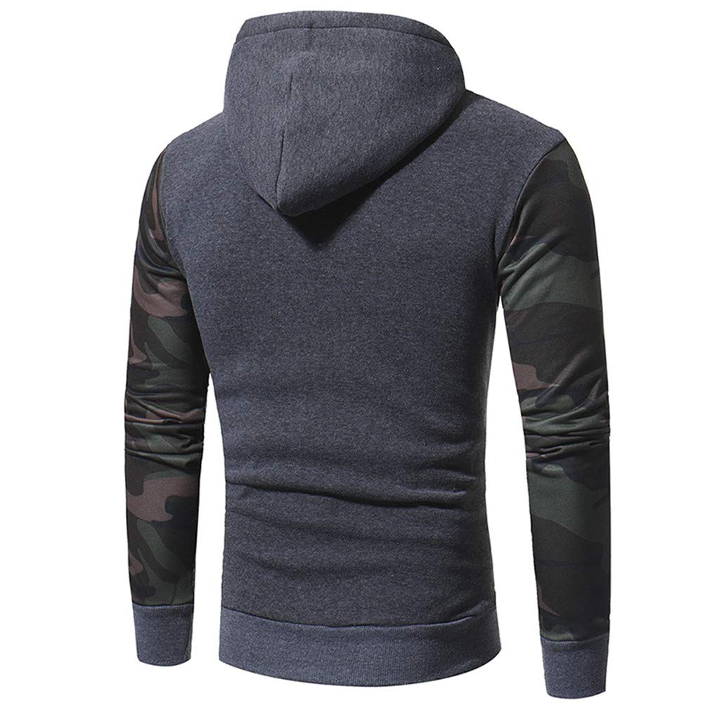 Usopu Mens Casual//Daily Sports Camouflage Printing Stitching Long Sleeve Hoodie