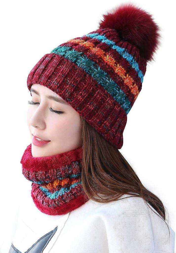 Home Prefer Womens Winter Beanie Hat Scarf Set Warm Fuzzy Knit Hat Neck Scarves