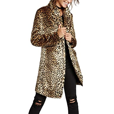 288e7afa6afb Raylans Damen Pelzmantel Kunstpelz Mantel mit Leopardenmuster  Amazon.de   Bekleidung