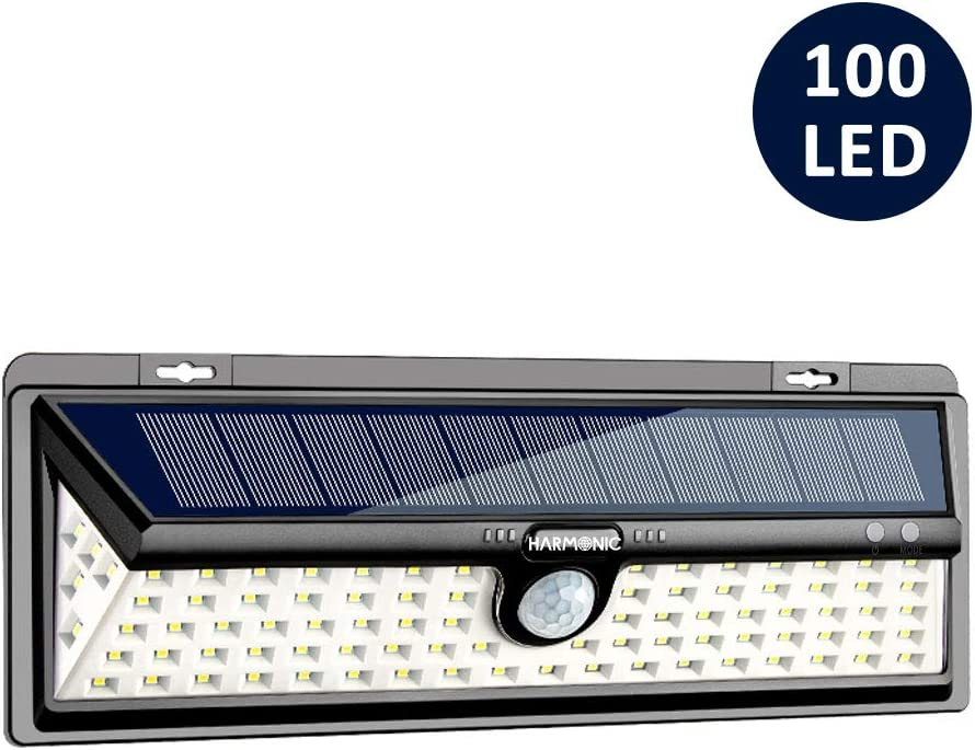 Harmonic Solar Lights Outdoor, 100 LED Motion Sensor Light with 270° Wide Angle, 3 Optional Modes IP65 Waterproof Solar Security Wall Lights for Garden, Front Door, Yard, Garage (1 Pack)
